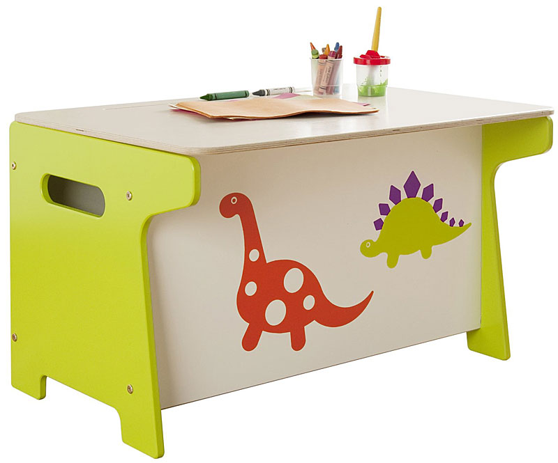 Millhouse Children's Dinosaur Wooden Toy Box and Desk