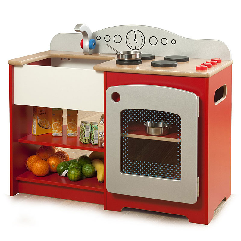 Millhouse RE53 Wooden Toy Country Play Kitchen - Red