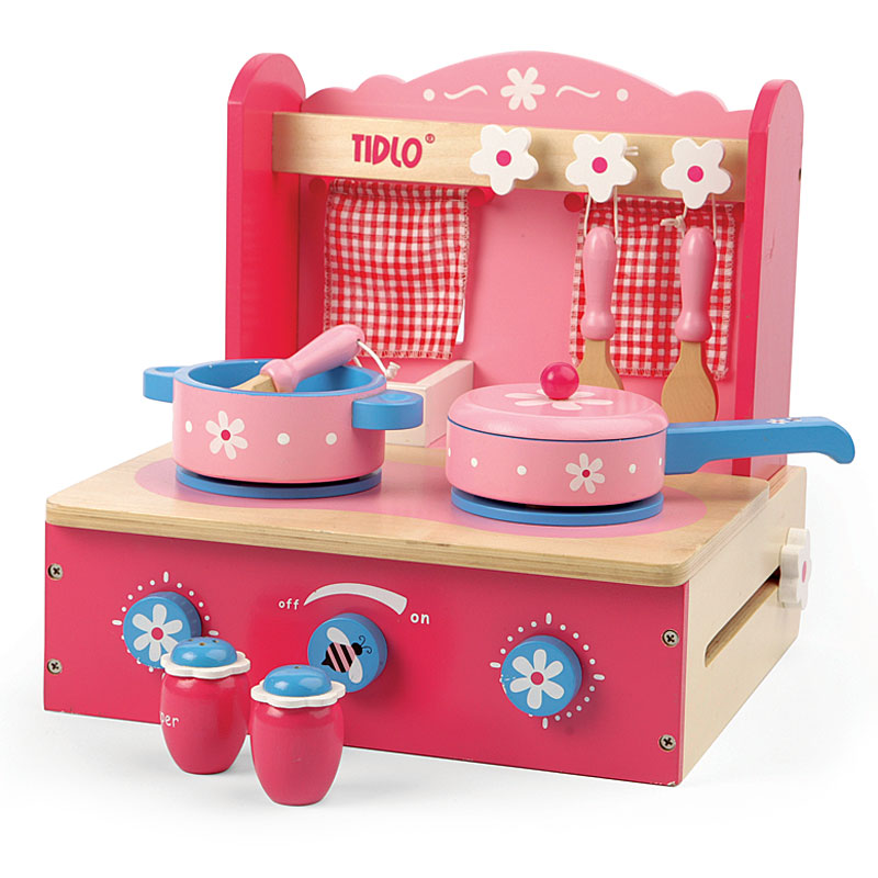 Tidlo Daisy Wooden Table Top Kitchen Set with pots and pans